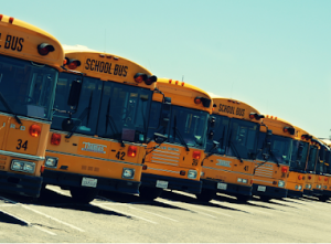 four school buses