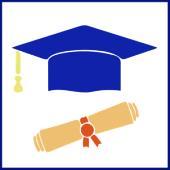 Blue graduation cap and diploma