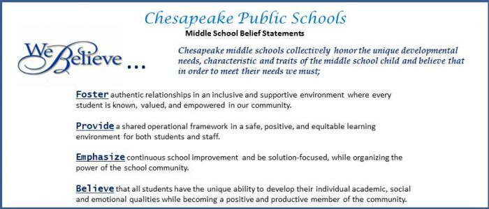 Chesapeake Public Schools Belief Statements. We Believe...Chesapeake middle schools collectively honor the unique developmental needs, characteristic and traits of the middle school child and believe that in order to meet their needs we must; • Foster authentic relationships in an inclusive and supportive environment where every student is known, valued, and empowered in our community. • Provide a shared operational framework in a safe, positive, and equitable learning environment for both students and staff. • Emphasize continuous school improvement and be solution-focused, while organizing the power of the school community. • Believe that all students have the unique ability to develop their individual academic, social and emotional qualities while becoming a positive and productive member of the community.