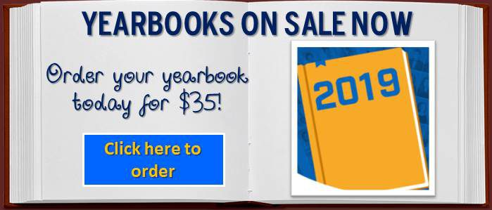 Yearbooks on sale now, Order your yearbook today for $35, click here to order, picture of yearbook with 2019 on front