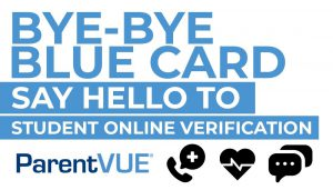 bye-bye blue card say hello to student online verification parentvue - phone symbol, heart symbol, texting symbol