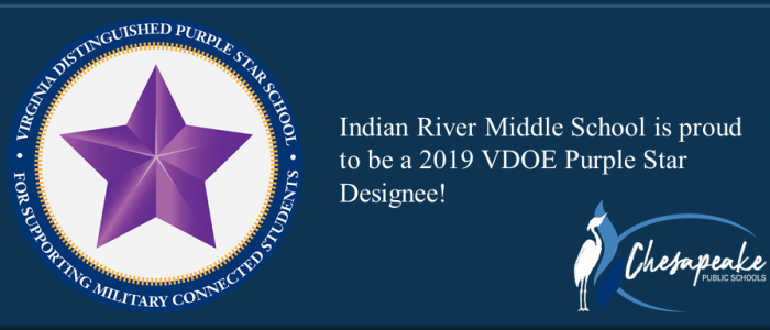 virginia distinguished purple star school for supporting military connected students. indian river middle school is proud to be a 2019 purple star designee! chesapeake public schools.- purple star logo, chesapeake public schools logo