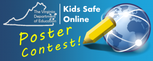 the virginia department of education kids safe online poster contest! - yellow colored pencil world with white lines connecting it