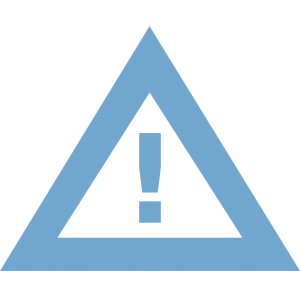 blue alert icon - exclamation point inside triangle