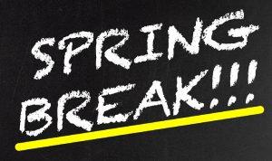 spring break written on chalk board