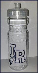 clear water bottle with indian river logo