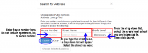 screenshot showing arrows pointing to the fields for house number, street name, and grade level.