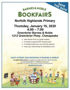 NHP Barnes and Noble Book Fair January 16th 4:00 to 7:00 pm