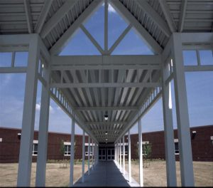 Covered walkway entrance into school
