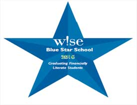 "A blue star with the text ""W!SE blue star school 2016 graduating financially literate students"""