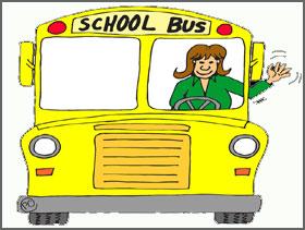 Cartoon of Lady Driving School Bus