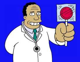 Dr. Hibbert Cartoon holding a lolipop