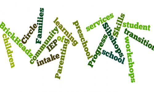 collage of words including: services, preschool, progress, learning, community, IEP, intake, parenting, skills, families, children, student, transition and workshop