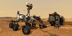 Rober resting on a red planet