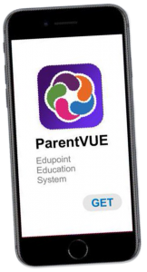 Image of a smart phone with the ParentVUE app logo.