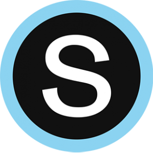 Schoology logo - blue & black circle with a capital S