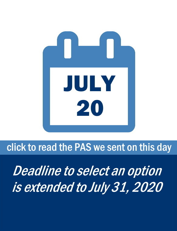 Family Update: July 20 - CLICK TO READ THE PAS WE SENT ON THIS DAY including information on: the extension to the deadline for families to select an option for 2020-21 school year.