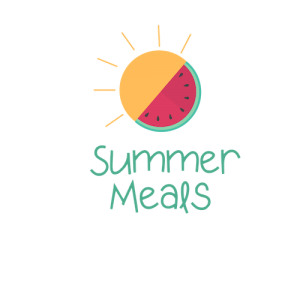 Summer meal logo sun and watermelon