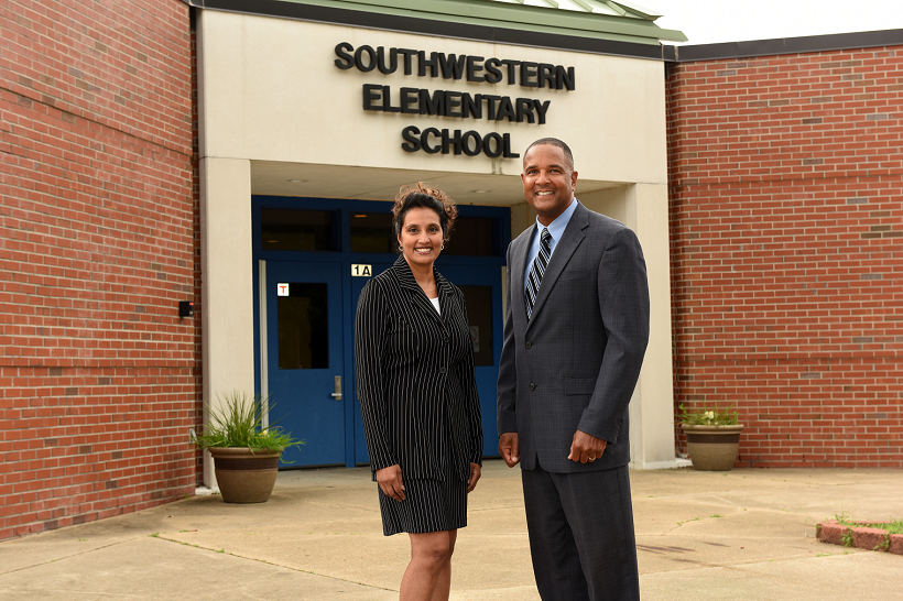 Southwestern Elementary School Administration. Left - Mattie Gould, Right - T. P. Moyer