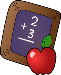 Small chalkboard with 2 + 3 and and apple in front