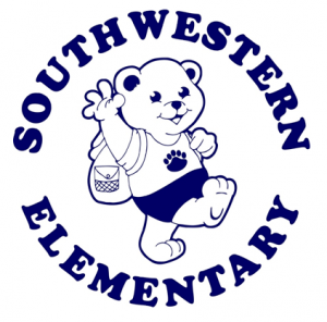 Southern Western Elementary. The mascot is a bear with a backpack waving.