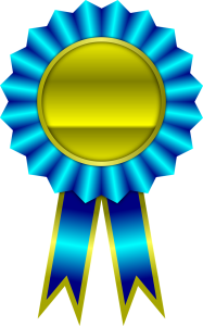 Blue and gold award ribbon