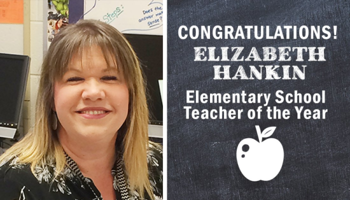Picture of Mrs. Hankin smiling. Congratulations Elizabeth Hankin. Elementary School Teacher of the Year. Picture of apple.