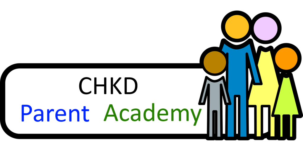 CHKD Parent Academy. A family of four standing together.