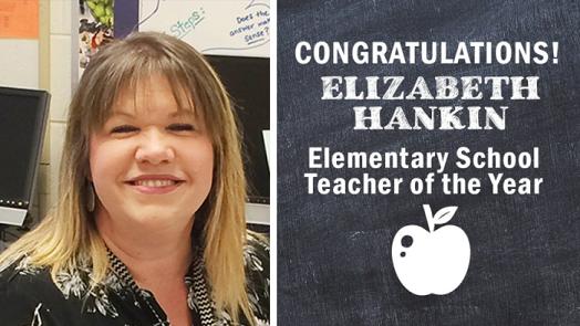 Picture of Mrs. Hankin smiling. Congratulations Elizabeth Hankin. Elementary School Teacher of the Year. Picture of apple.
