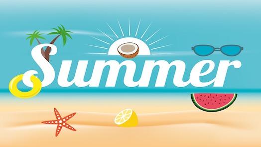 Summer images: beach, palm trees, sun, coconut, sunglasses, floatation ring, starfish, lemon, watermelon