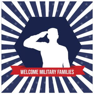 Welcome military families, soldier saluting