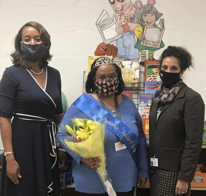 Mrs. Johnson (left), Mrs. Hudson (center), Mrs. Gould (right), Teacher of the Year, Reading of the Year