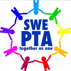 SWE PTA together as one, children holding hands in a circle