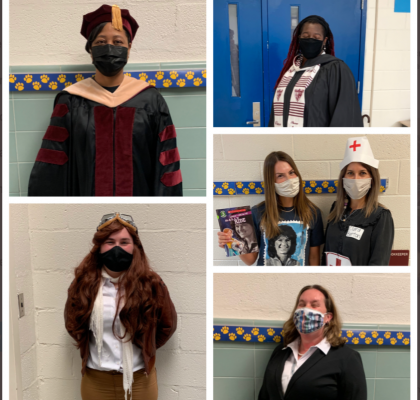 teachers in costume for Read Across America