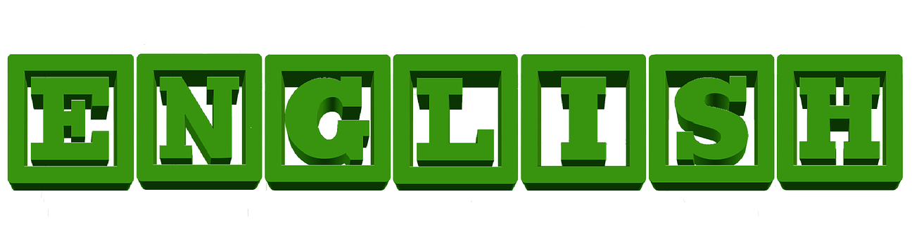 The word ENGLISH spelled out in green letters