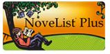 NoveList Plus for adults. Adult reading a book setting with back against a tree.