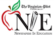 The Virginian Pilot Newspapers in Education apple with newspaper rolled up with letter N E