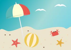 beach scene with umbrella and beach ball