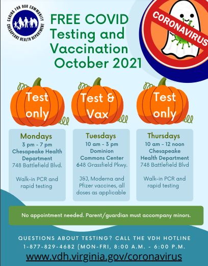 Covid 19 Testing and Vaccination October 2021