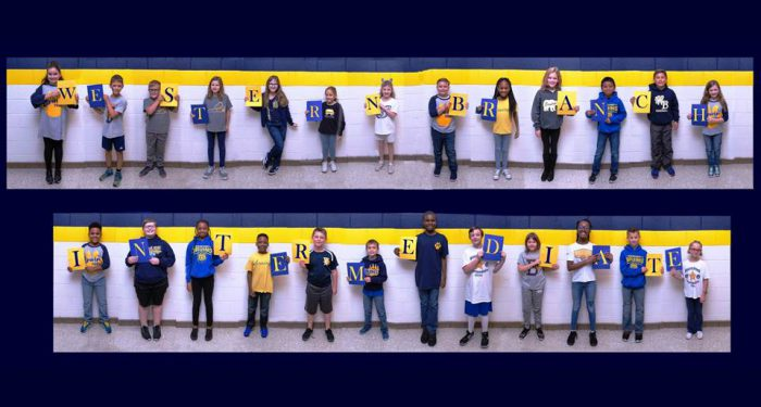 Western Branch Intermediate (kids holding each letter)