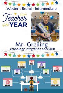 Western Brach Intermediate 2020 Teacher of the Year, Mr. Greiling