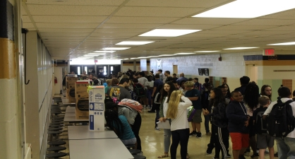 Main Hallway with a crowd of students on Club Day 2017