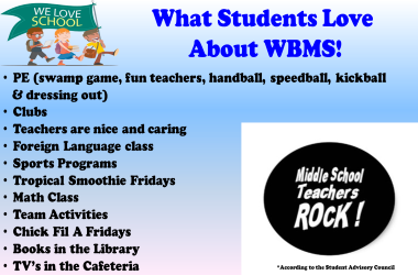 What students love about WBMS list