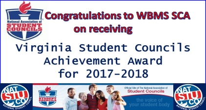 Congratulations to WBMS SCA on receiving Virginia Student Councils Achievement Award for 2017-2018