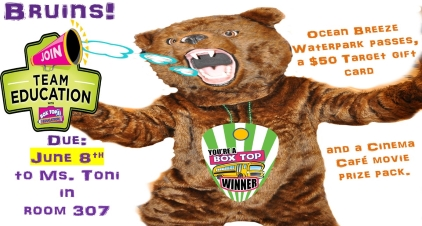 Box Tops Competition due on June 8th. Ocean Breeze Waterpark passes, a $50 Target gift card and a Cinema Café movie prize pack.