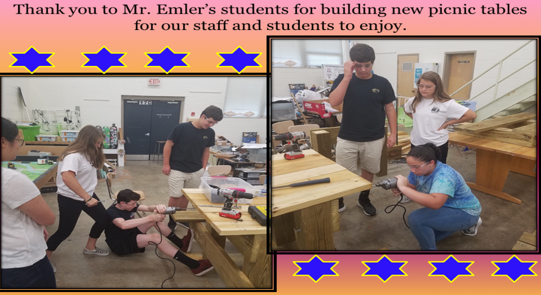 Thank you to Mr. Emler's students for building new picnic tables for our staff and students to enjoy.