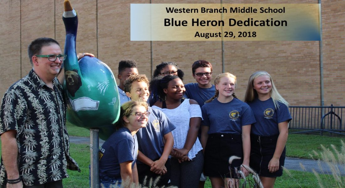 Picture of designer of the Heron along with the SCA officers - Western Branch Middle School Blue Heron Dedication on August 29, 2018