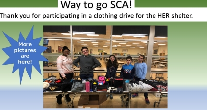Way to go SCA! Thank you for participating in a clothing drive for the HER shelter.