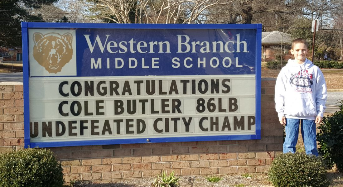 Western Branch Middle School sends Congratulations to Cole Butler 86 pounds undefeated city champion