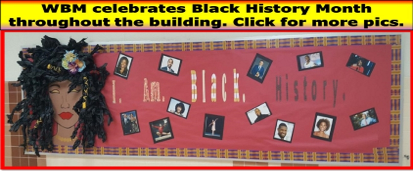 I. AM. BLACK. HISTORY. Bulletin board with famous faces posted.